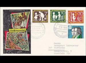 Ersttagsbrief FDC 1959 Wohlfahrtsmarken als R-Brief