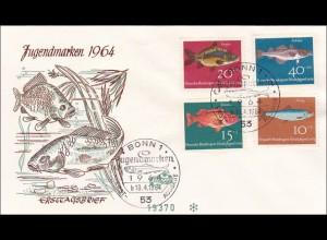 Ersttagsbrief FDC 1964 Wohlfahrtsmarken als R-Brief
