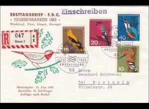 Ersttagsbrief FDC 1963 Wohlfahrtsmarken als R-Brief